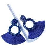 SHIWE Bohemia Beaded Tassel Earrings for Women Long Thread Fringe Drop D... - $10.15