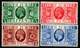 1935 King George V Silver Jubilee Set of 4 Great Britain Stamps Catalog 226-29