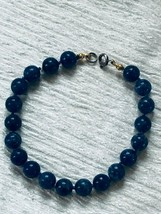 Estate Hand Knotted Blue Round Stone Bracelet – 7 x 0.25 inches – VERY G... - $18.55