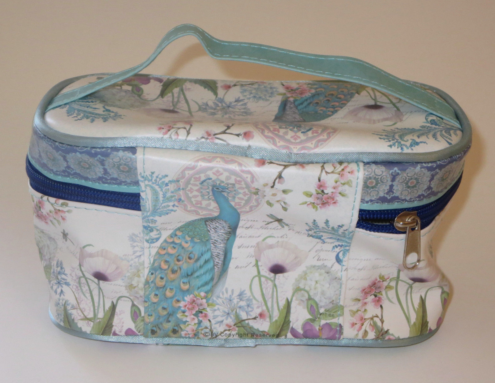"Peacock Makeup Bag Cosmetic 8"" Blue White Hydrangeas Cherry Blossom Flowers New"