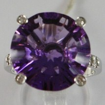 White Gold Ring 750 18K, with Amethyst round CT 11.5, and Diamonds CT 0.21 image 2