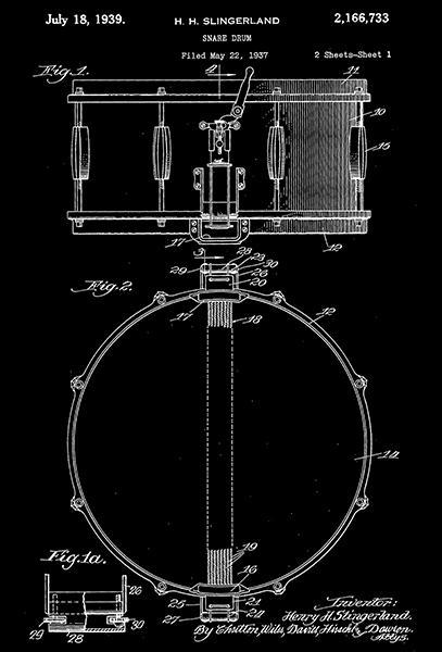 Primary image for 1939 - Snare Drum - H. H. Slingerland - Patent Art Poster