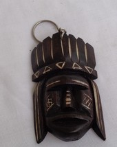 Hand carved Key Ring Key chain Wooden mask  sculpture by indigenous Brazilians - $6.64