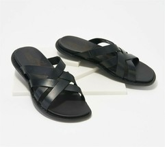 KEEN Leather Slip-On Slide Sandals Sofia Black Magnet 8.5M NEW A349198 - $73.24