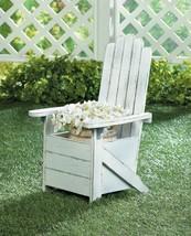 Wooden Adirondack Chair Planter Fits Standard Pot Weathered White Finish - $34.60
