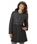 KC Collection Puffer Top Faux Wool Bottom Mixed Media Coat Plus 2X Black... - $81.24