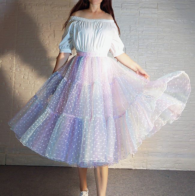 Women Girl Rainbow Long Tulle Skirt Polka Dot Rainbow Skirt Holiday Skirt Outfit