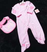 Juicy Couture Baby Girls Infant 2 Piece Footie With Bib Sz 3-6 Months Nwt New - $37.87