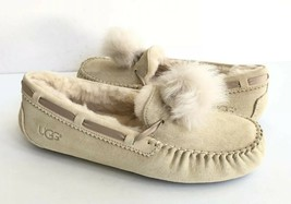 UGG DAKOTA POM POM CREAM WATER RESISTANT SHEARLING SLIPPERS US 11 / EU 4... - $88.83