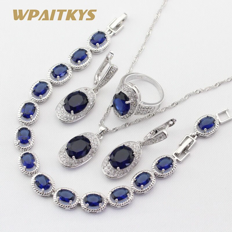 4pcs Women Silver Color Jewelry Sets Blue Crystal White Necklace Pendant Earring image 2