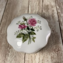 Vintage Lefton Pink And White Rose Small Lidded Trinket Box #3395 - $14.84