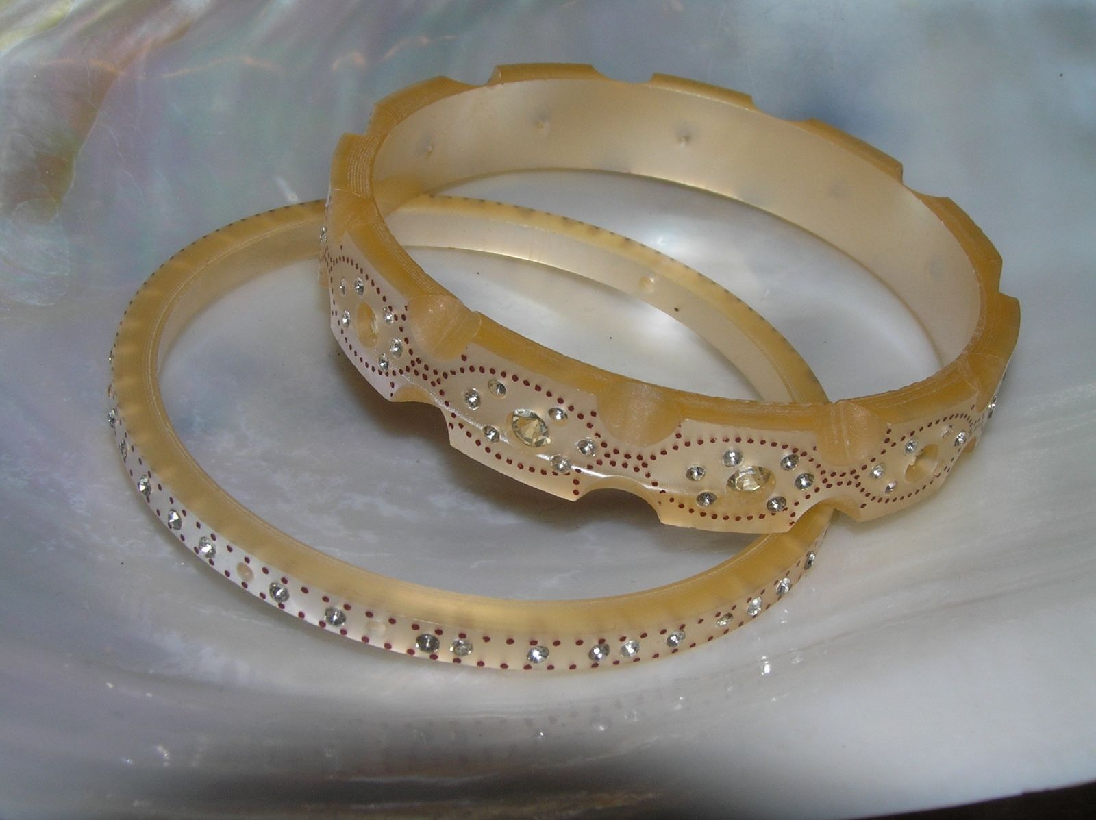 Vintage Lot of 2 Champagne Scalloped Edge Plastic with Clear Rhinestone Inset