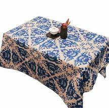 Panda Superstore Creative Blue Lotus Cotton Tablecloth/Tea Table Clothes