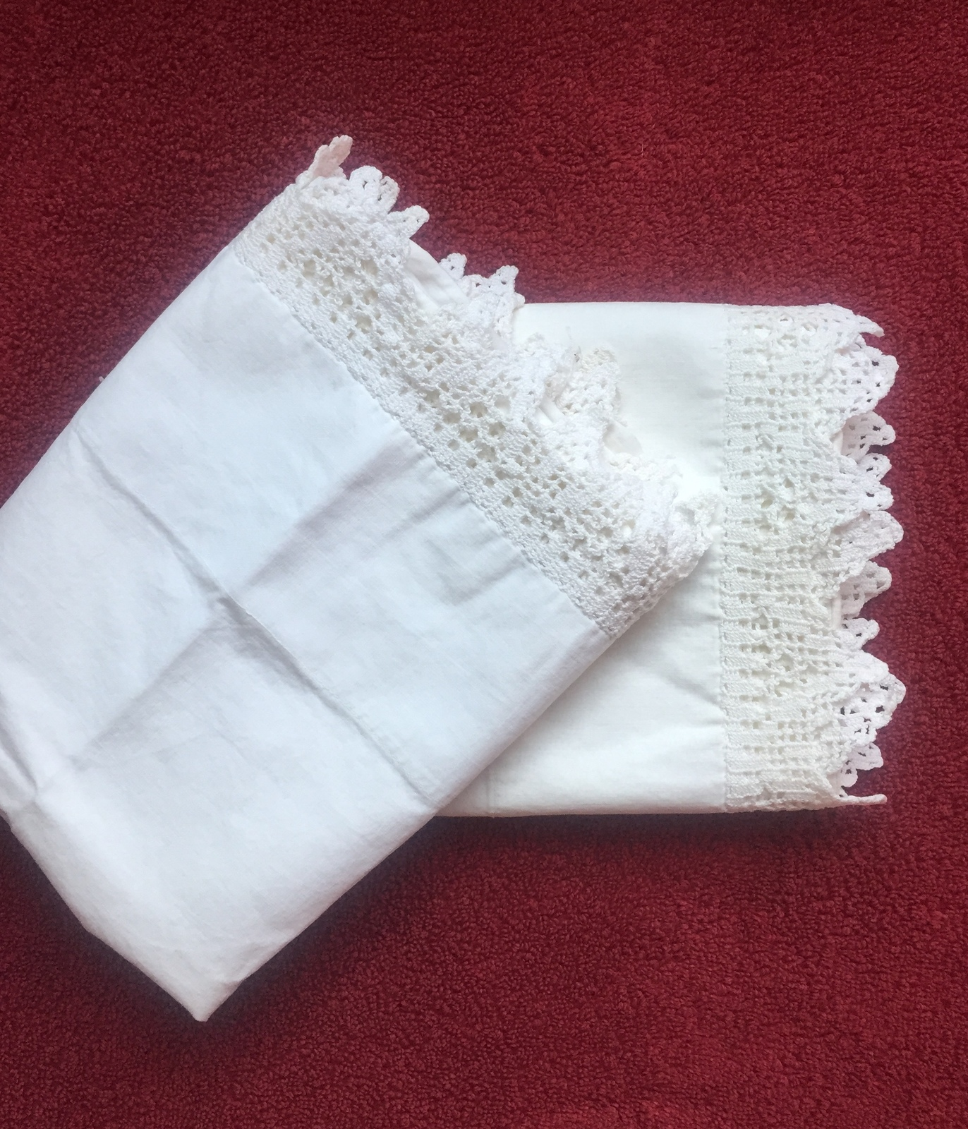 Set of Vintage 30s Intricate Crocheted Full Edge Pillowcases