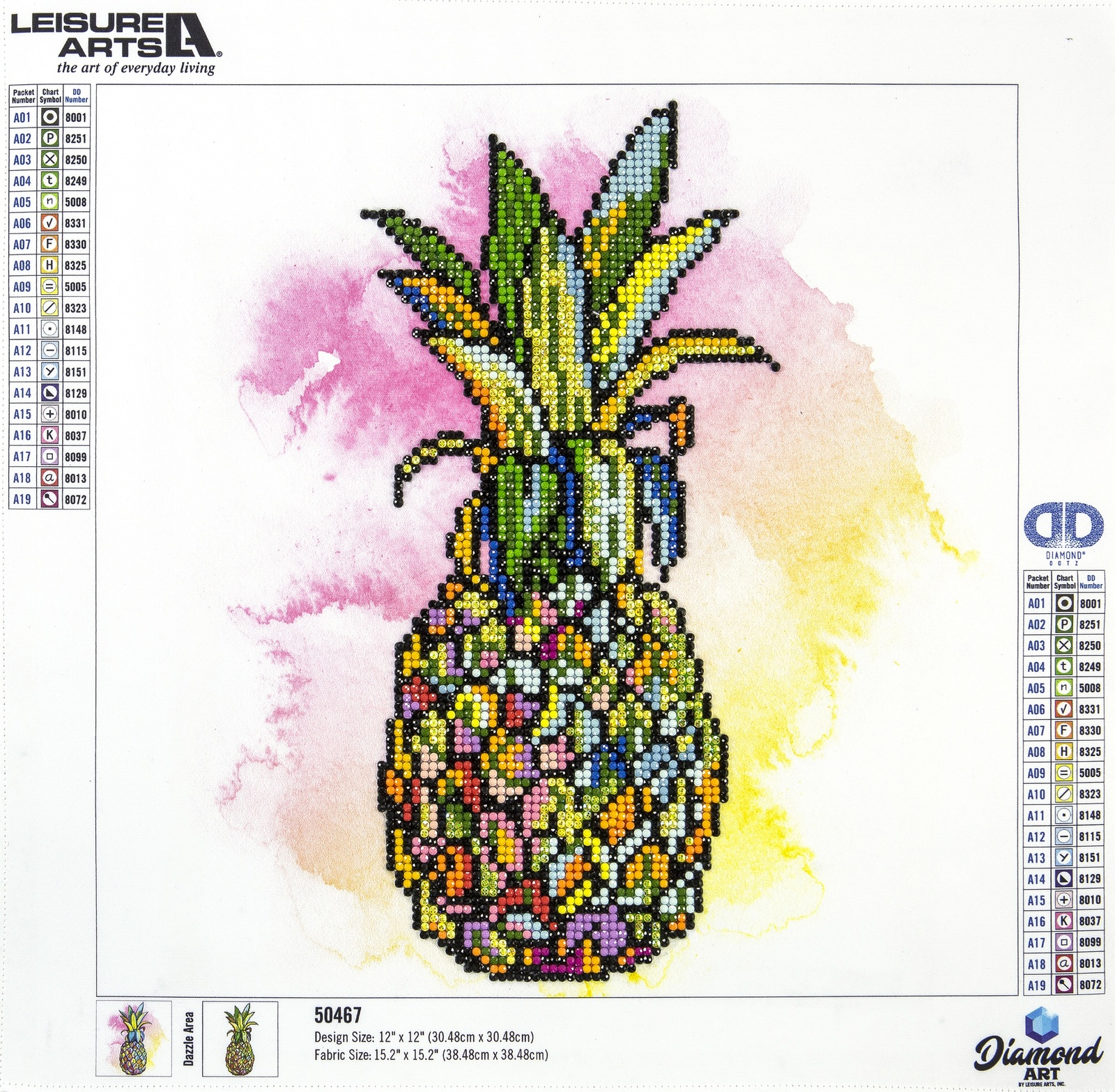 "Primary image for Leisure Arts Diamond Art Intermediate Kit 12""X12""-Pineapple"