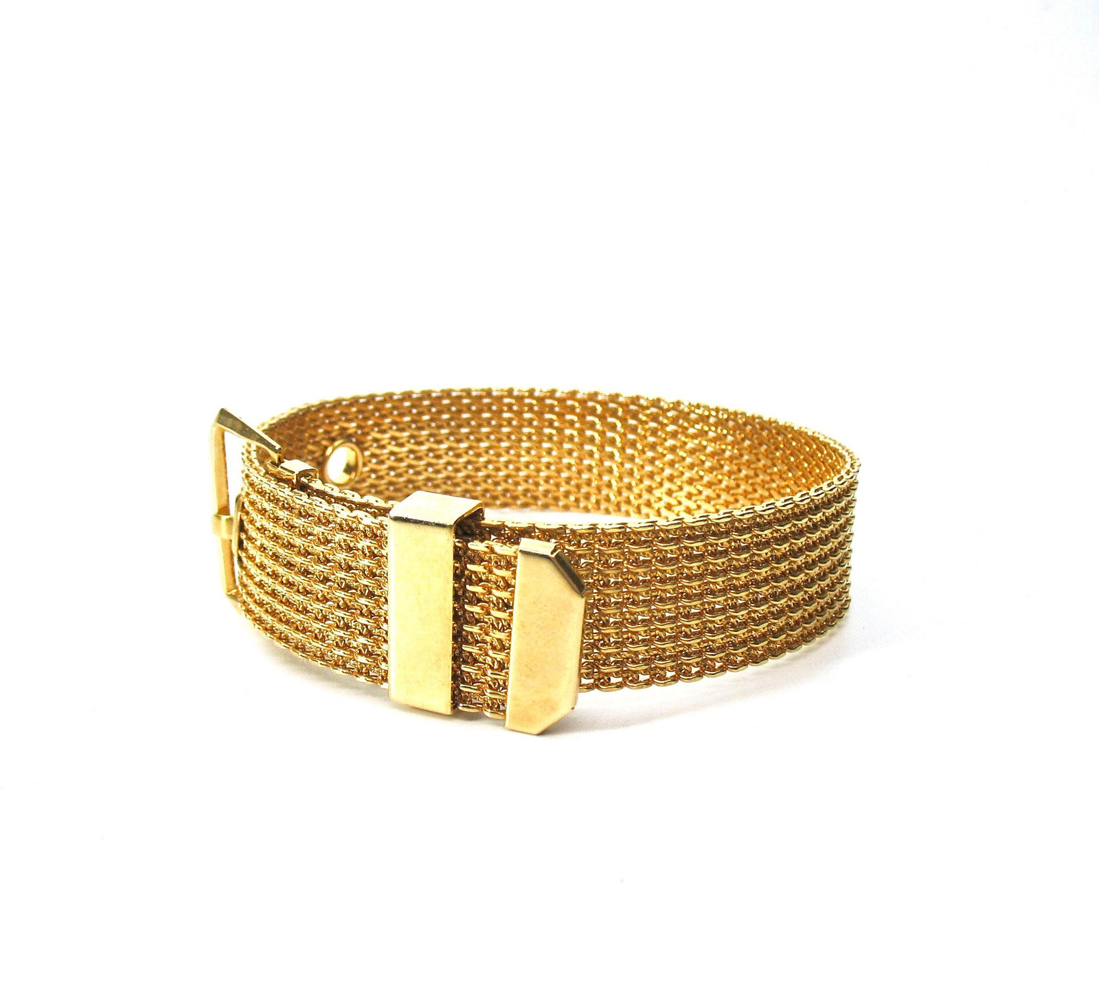 Mesh Buckle Bracelet, Gold Tone, Avon, 1970's, Adjustable, Signed Collectible, D image 6