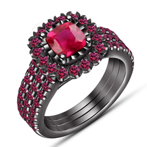 Helo Wedding Ring Set Cushion Cut Pink Sapphire 14k Black Gold Plated 925 Silver - $135.99