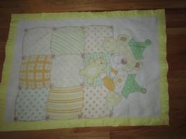 Carters Vintage baby crib blanket yellow trim sleeping bears clown party... - $49.49