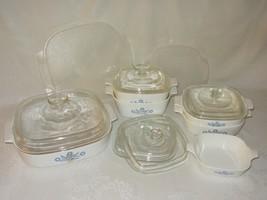 Lot 13 Piece Corning Ware Blue Cornflower Vtg Casserole Dish Glass Plastic Lids - $118.79