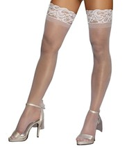 Dreamgirl WHITE Sheer Lace Top Thigh Highs, US One Size - $5.94