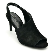 Bandolino Womans Jasmine Peep Toe Slingback Heels Sz 9 Black Suede Cushioned NEW - $28.60