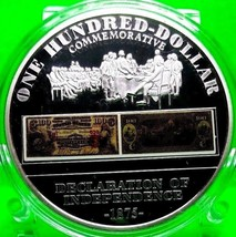 1875 $100 DECLARATION OF INDEPENDENCE COMMEMORATIVE COLOR COIN PROOF - $80.96