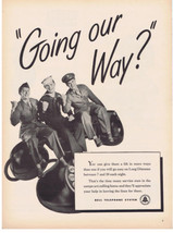 1945 Bell Telephone Wwii Military Men Army Navy Air Force Rotary Phone Print Ad - $9.99