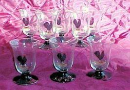 8 Footed Juice Glasses, Black Foot, Black Rooster Breakfast Brunch Enter... - $68.87