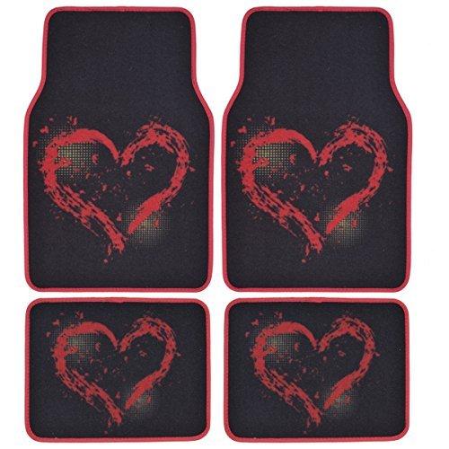 BDK Love Heart Design Carpet Floor Mats For Car SUV
