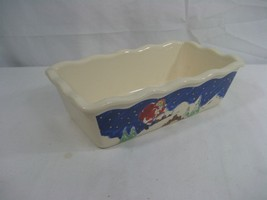 Christmas Ceramic Loaf or Bread Pan 9.5x5.5 Fluted Edges Santa Clause - $337,88 MXN