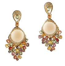 Coral, Colored Sapphires, Diamonds, Yellow Gold Dangle Earrings - $2,830.00