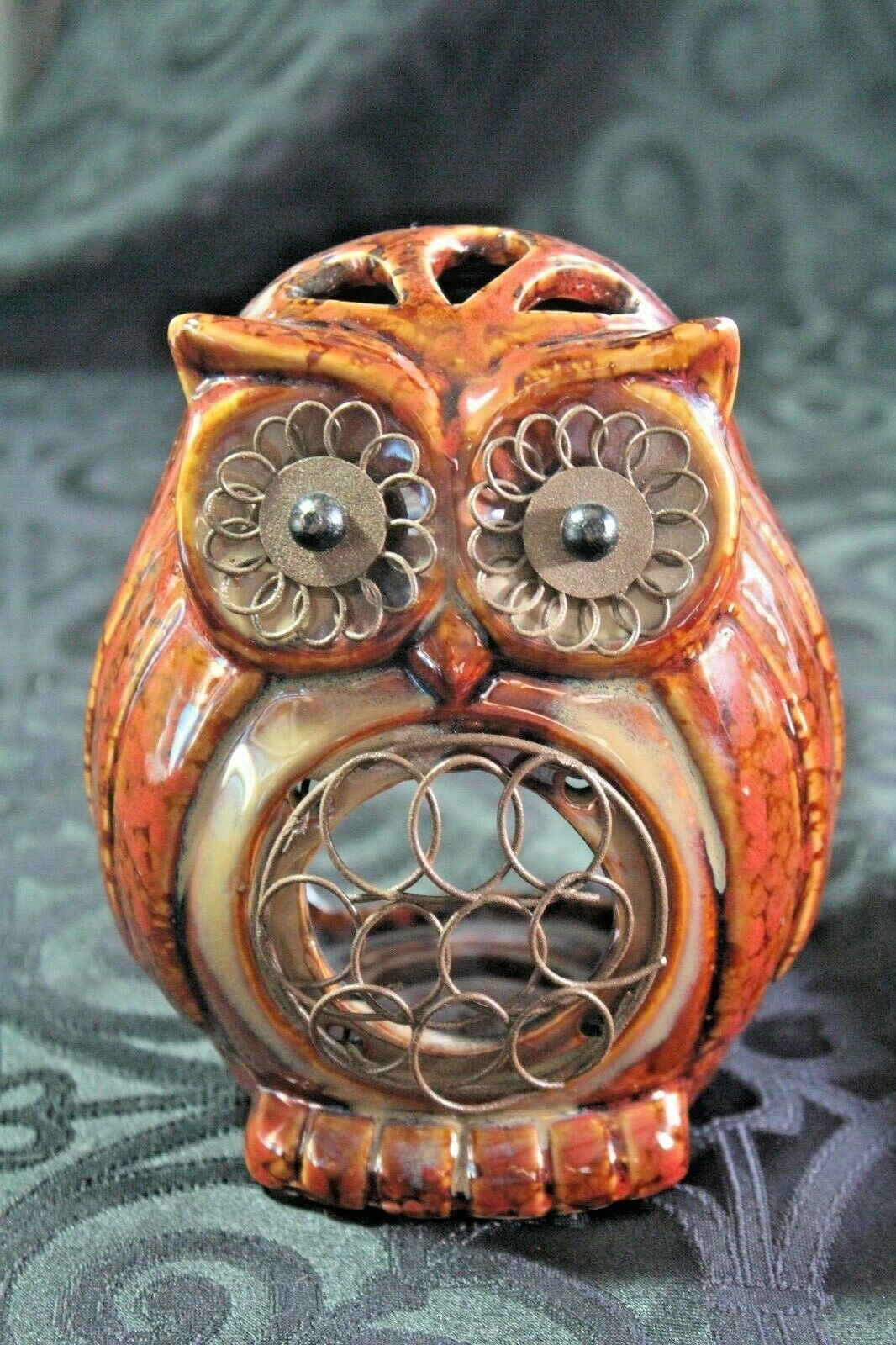 "Primary image for 5"" Owl Tealight holder. Brown Glaze, metal on eyes and belly"