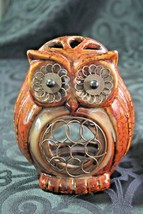 "5"" Owl Tealight holder. Brown Glaze, metal on eyes and belly - $10.96"