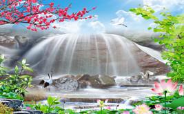 3D ein riesiger Wasserfal Fototapeten Wandbild Fototapete BildTapete Familie DE - $52.21+