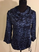 MICHAEL KORS Ocean Blue Rolled Neck Silky Blouson Top ( SMALL ) NWT  $99.00 - $23.16