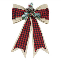 Christmas Plaid & Burlap Bow seasonal S19 - $89.09