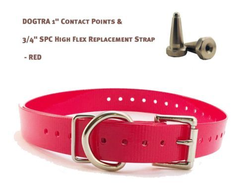 "DOGTRA 1"" Contact Points & 3/4"" SPC High Flex Replacement Strap - Red"