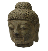 Chinese Oriental Brown Gray Stone Carved Buddha Head Figure cs3714 - $195.00