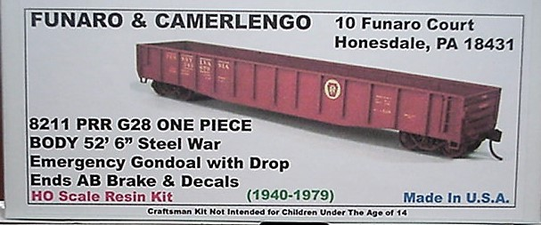 "Funaro F&C HO PRR  G28 52'6"" Steel War Emergency Gondola Kit 8211"