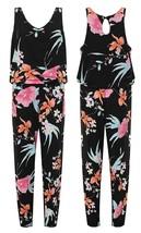 Womens Sleeveless Scoop Neck Floral Print Slim Pants Ladies Jumpsuit Tro... - $28.44