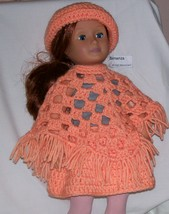 American Girl Peach Poncho and Brimmed Hat, Handmade Crochet, 18 Inch Doll - $15.00