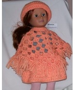 American Girl Peach Poncho and Brimmed Hat, Handmade Crochet, 18 Inch Doll - $20.00