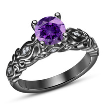 14k Black Gold Finish 925 Solid Silver Womens Purple Amethyst Engagement... - £60.32 GBP