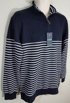 Men's Chaps 1/4 Zip Striped Pullover Shirt Navy Long Sleeve Sz M NWT $55 - $21.99