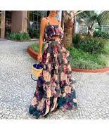 Tropical Floral Crop Top+ High Waist Matching Ruffled Maxi  High Waist S... - $74.12