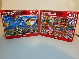 Puzzlebug 500 Piece Puzzles Hot Air Balloon and Candies and Swirly Lolli... - $21.94