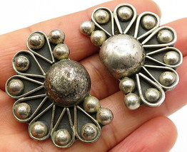 MEXICO 925 Silver - Vintage Modernist Ball Beaded Fan Clip-On Earrings - E3924 - $76.57