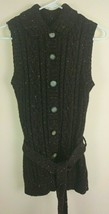 St Johns Bay Womens Sz M Chunky Knit Button Front Collared Cardigan Vest... - €21,42 EUR