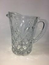 Vintage Pressed Glass Creamer Pineapple Pattern Clear Glass EUC - $7.92