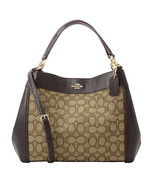 NWT COACH Small LEXY Signature Jacquard Fabric Shoulder Khaki Brown F29548 - $108.90